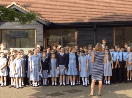 Flash mob in Oxted, Surrey, July 2015. Hazelwood School celebrating 125 years