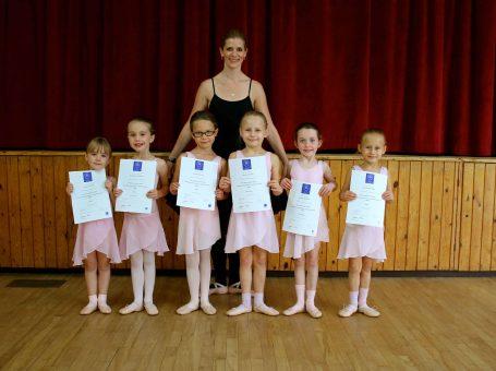 Children ballet dancers from Surrey Dance School in Limpsfield, near Oxted, Surrey - holding their ballet exam certificates