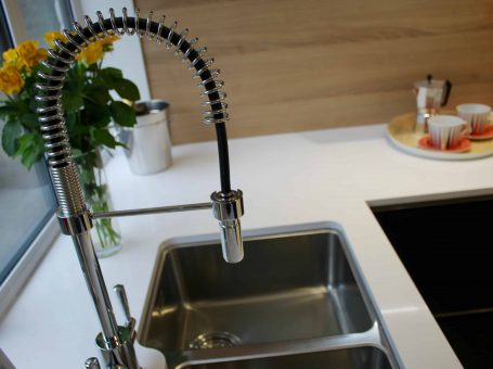 Photo of a tap and sink from Maag Kitchens showroom in Oxted, Surrey