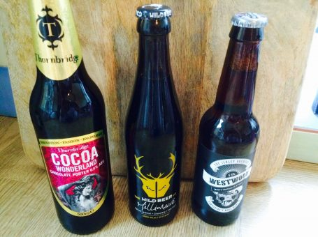 Photo of 3 chocolate beers that InTandridge tried, from Hop Stop, Oxted's specialist beer shop