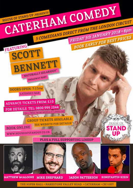 Win Caterham Comedy tickets - January 2018