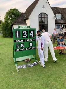 The scoreboard during inTandridge v Woldingham Village Cricket Club T20 2019